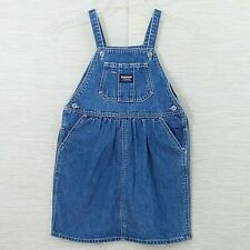 Oshkosh Girls Size 6 Jumper Overall Dress Blue Jean Denim Vestbak Cotton Pocket