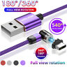 360°USB Magnetic Fast Charging L-Shape Phone Charger Type C Micro USB Data Cable