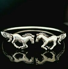 New listing Ladies 925 Sterling Silver Oxidised Two Horse Equestrian Cuff Bangle Bracelet