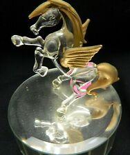 076#J&C-Unicorn Pegasus Figurine Music Box Glass Mirror Vintage