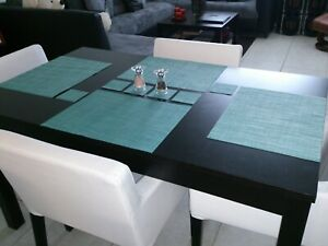 Chilewich placemats and coasters (set of 4) Mini Basket Weave Turquoise.