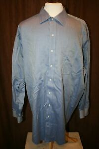 Brooks Brothers Non Iron Cotton Dress Shirt Solid Blue Size 19 36/37 Mens