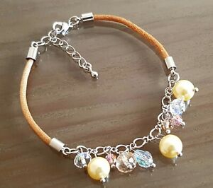 FAUX PEARL AND GLASS CRYSTAL BRACELET