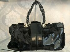 CHLOE Black Patent Large Shoulder/Tote Bag w/ Silver Metal Accents $1400