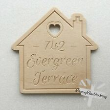 **HOME** Carved Wooden Craft Shape - Personalised Address House.