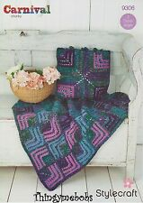 STYLECRAFT 9306 MITRED SQUARE THROWN/CUSHION CARNIVAL ORIGINAL CROCHET PATTERN