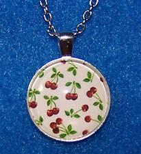 "Silver 20"" Necklace Women men Pendant CHERRY FRUIT MOM CHERRIES  Free $10 GIFT"