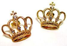 SoHo® Ohrstecker Krone vergoldet König Königin geschliffene Kristalle Strass