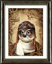 Lo Steampunk Owl PILOTA A3 ART PRINT Wall Art Home Decor GOLD