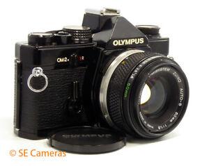 BLACK OLYMPUS OM-2N 35MM SLR CAMERA + OM ZUIKO 50MM F1.8 LENS *EXCELLENT*
