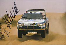 Ari Vatanen mano firmado 12x8 Foto Peugeot 405 Paris Alger Dakar 1988.