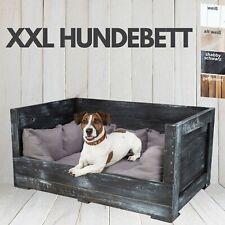"""Hundebett """"Balu"""" in schwarzem Holz mit Kissen 90x57x45cm Kisten Style Körbchen"""