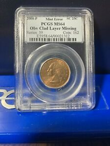 2000-P Mint Error PCGS MS64 South Carolina Quarter Obv Clad Layer Missing