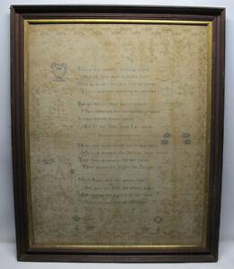 Antique American Linen Sampler 1830's Wrought by Jane Burroughs HYMNS Plants yqz