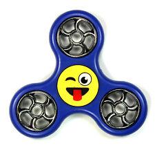 Funny Face Emoji / Royal Blue - Tri FIDGET Spinner Ceramic Hand SPINNER Desk Toy