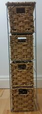 Shabby Chic Brown Wicker Baskets Small 4 Tier Shelving Unit Free Standing Room