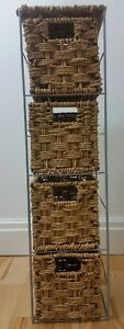 Wicker Baskets Shelving Unit Small 4 Brown Tier Free Standing Storage Drawers