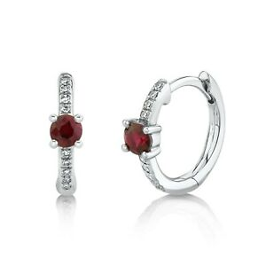 Ruby Diamond Huggie Earrings 14k White Gold 0.35CT Natural Mini Hoop Round Cut