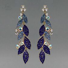 18K Gold Plated GP Blue Crystal Rhinestone Drop Dangle Earrings 01616 Party Prom