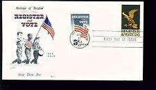 1968 FDC - Scott# 1344 COMBO - Register and Vote - Cachet Craft Cachet    UA