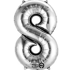 """Number 8 Silver Foil Balloon 16"""" 40cm Air Fill Age Name Birthday Anniversary"""