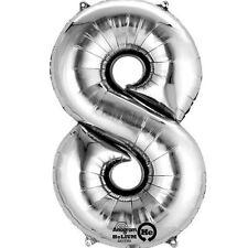 """Numero 8 Silver Foil Balloon 16"""" 40cm Aria Riempire Nome Età Compleanno Anniversario"""