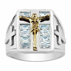 Finecraft 'Men's Crucifix Ring with Cubic Zirconias' in Two-Tone Stainless Steel