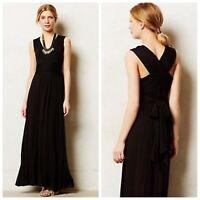 Anthropologie Vanessa Virginia Black Capuchina Maxi Dress Rayon Jersey $165 XSP