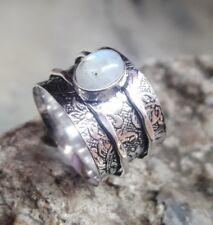 Rainbow Moonstone Solid 925 Sterling Silver Spinner Ring Meditation Ring sr98022
