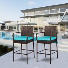 Rattan Wicker 2 PCS Bar Dining High Counter Chair Patio Furniture W/Cushion Blue