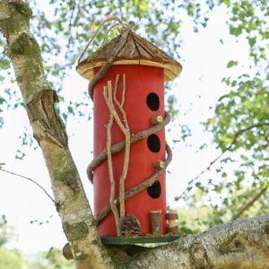 Three Tier Bird House Nesting Box Hotel Red Hanging Garden Ornament Décor