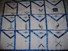 Set of 12 Officers Aprons Freemason Blue Lodge Masonic Fraternity NEW!