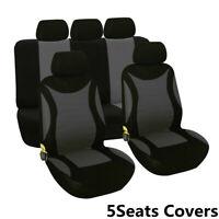 5Seats Full Set Car Grey+Black Seat Cover Protector Cushion Pad Four Season Fit