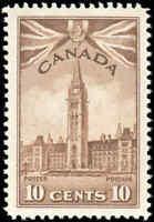 Mint Canada Scott #257 F-VF 1942 10c King George VI War Issue Hinged