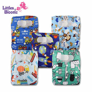 5 Washable Reusable Pocket Hook-Loop Standard Cloth NAPPY Diaper