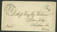 Suffield/Ct. blk. cds. w/PAID/3 in c. on stampless cover