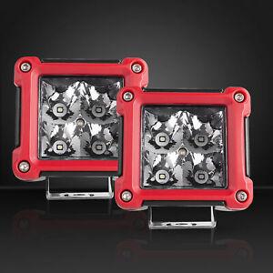 2X 3inch Square LED Work Light Cube Pods Driving Work Fog FLOOD Lamp/ SPOT 12V