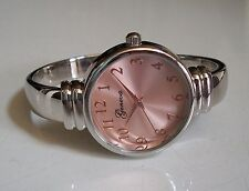 SILVER/ROSE GOLD FINISH DIAL DESIGNER STYLE WOMEN'S BANGLE CUFF WATCH