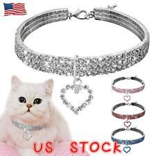 Pet Dog Diamond Collar Leads Heart Rhinestone Crystal Doggie Puppy Cat Necklace