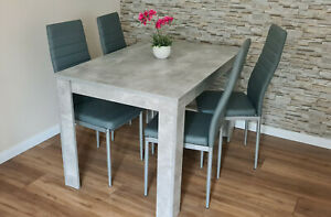 Modern wood stone grey Dining Table and 4 PU faux leather chairs dining room