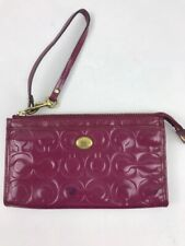 Coach Op Art Hot Pink Patent Leather Clutch Purse Wristlet Wallet