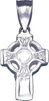 """Small 925 Sterling Silver Celtic Cross Charm Pendant Necklace with 18"""" Chain"""