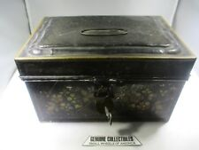 Tin Toleware Document Box+Domed Lid+Hinged Lid+Top Ring+Key 19th Century