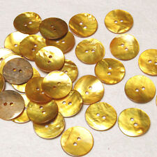 B645 Gold Yellow Mother of Pearl Craft Sewing DIY Round Shell Buttons 20mm 30pcs