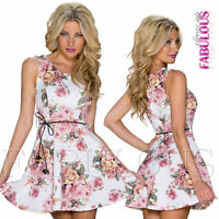 Sexy Women's Floral Print Party Evening Casual Dress Clubbing Wear Size 8 / S