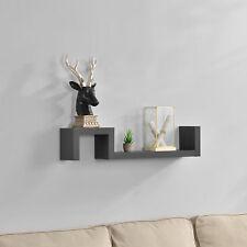 [en.casa]® Scaffale a muro board murale CD DVD regale libreria mensola grigio