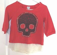 D-Signed Girls Red Skull Long Sleeve Top Size L with Faux Gold Studs & Diamonds