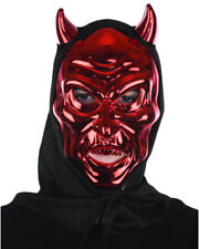 Adults Red Venetian Carnival Horned Hooded Devil Mask Costume Accessory