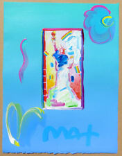 Peter Max Statue of Liberty Hand Painted & Signed Painting 11 x 8-1/2