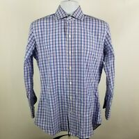 Ledbury Mens Blue Red White Check Plaid L/S Dress Button Shirt Sz 15.5/39